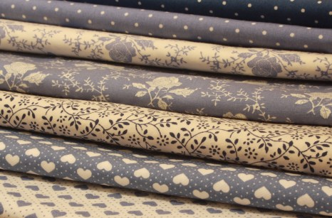 All hues of blue fabrics