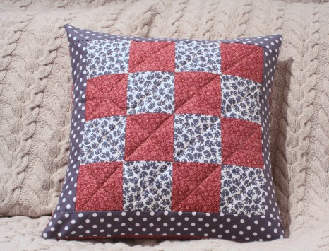Pink and grey quilted cushion by Mrs D
