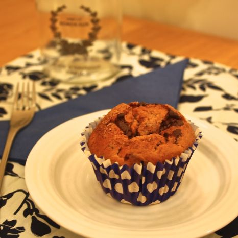 Banana, cinnamon and chocolate muffin