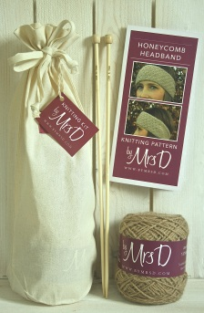 Click here to purchase your by Mrs D Honeycomb Headband knitting kit