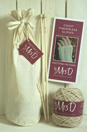 Click here to purchase your by Mrs D Coast Fingerless Gloves Knitting Kit