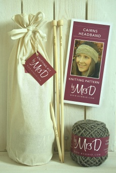 Click here to purchase your by Mrs D Cairns Headband Knitting Kit