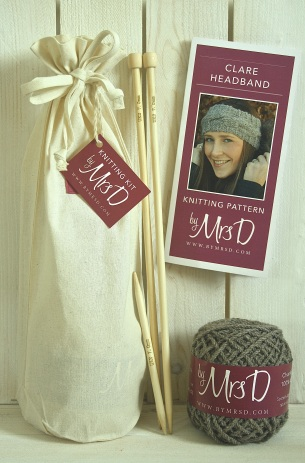 Click here to purchase your by Mrs D Clare Headband Knitting Kit