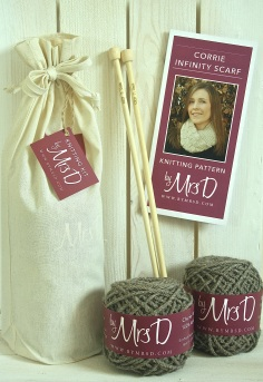 Click here to purchase your by Mrs D Corrie Infinity Scarf Knitting Kit