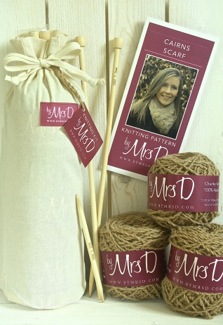 Click here to purchase your by Mrs D Cairns Scarf Knitting Kit